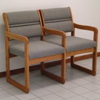 Reception and Waiting Room Two Seat Chair w/Center Arms - Medium Oak - Charco
