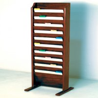 Free Standing 10 Pocket Legal Size Chart Rack and File Holder - Mahogany