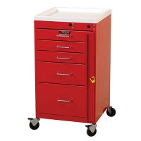 5 Drawer Mini Line Medical Emergency Crash Cart - Breakaway Lock