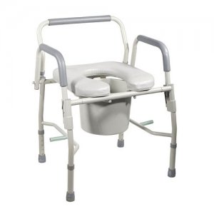 Bedside Commode with Padded Seat & Arms - Steel Drop Arm