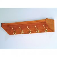 32 Inch Solid Oak Coat & Hat Rack With 5 Brass Hooks - Medium Oak