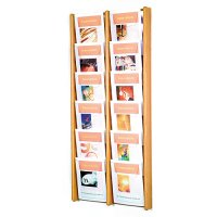 12 Pocket Oak and Acrylic Wall Mount / Literature Display Rack