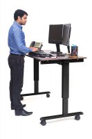 "60"" Electric Standing Desk with Black Frame and Dark Walnut Desktop"