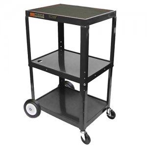 Black Adjustable Utility Cart - 3 Shelf - Two 8 Inch Big Wheels