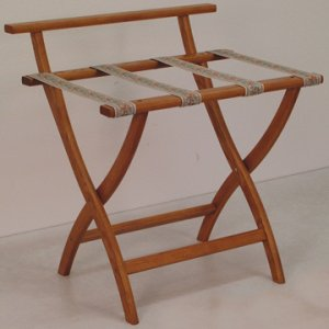 Medium Oak Luggage, Suitcase, or Briefcase Rack - Tapestry Straps