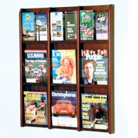 9 Magazine/18 Brochure Wall Display with Brochure Inserts - Mahogany