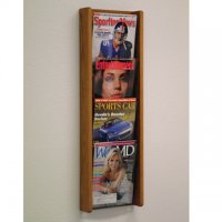 4 Pocket Oak and Acrylic Literature Wall Display Rack - Medium Oak