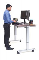"60"" Electric Standing Desk with Silver Frame and Dark Walnut Desktop"