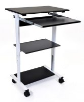 Three Shelf Adjustable Stand Up Desk Workstation with Keyboard Shelf