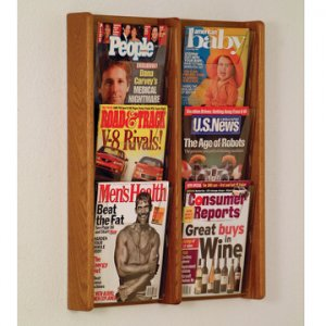 6 Pocket Solid Medium Oak and Acrylic Literature Wall Display Rack