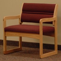 Office Waiting Room Bariatric Guest Chair - Light Oak - Cabernet Burgu