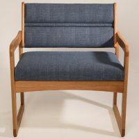 Office Waiting Room Bariatric Guest Chair - Light Oak - Powder Blue