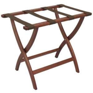 Designer Curve Leg Luggage Rack in Mahogany - Brown Straps