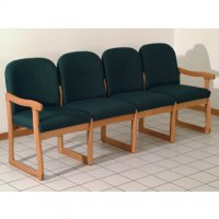 Office Waiting Room Four Seat Sofa - Medium Oak - Arch Green