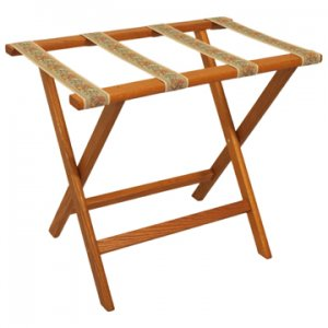 Deluxe Straight Leg Luggage Rack in Medium Oak - Tapestry Straps