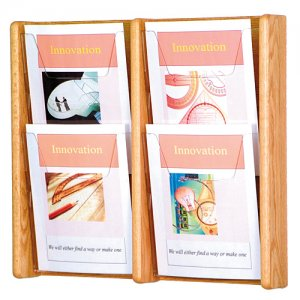 4 Pocket Oak and Acrylic Wall Mount / Literature Display Rack