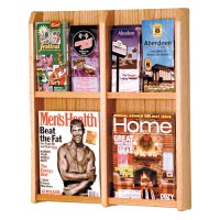 4 Magazine / 8 Brochure Oak and Acrylic Wall Display Literature Rack