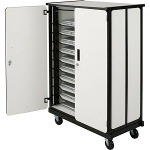 Deluxe iPad Tablet Charging Locking Security Storage Cart - 20 Slots