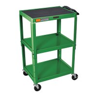 Green Adjustable Audio Visual (AV) Utility Cart With 3 Shelves