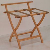 Light Oak Luggage, Suitcase, or Briefcase Rack - Tan Straps
