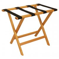 Deluxe Straight Leg Luggage Rack in Light Oak - Black Straps