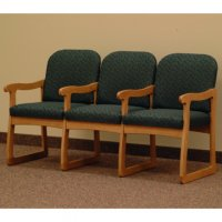 Office Waiting Room Three Seat Chair w/Center Arms - Medium Oak - Leaf