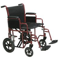 20 Inch Width Bariatric Transport Wheelchair - Swing-away Footrest