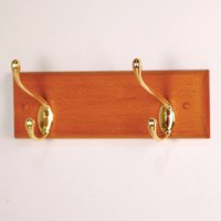 2 Hook Coat Rack with Brass Hooks - Medium Oak