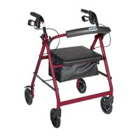6 Inch Caster Rollator with Fold Up and Removable Back Support - Red