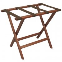 Deluxe Straight Leg Luggage Rack in Mahogany - Brown Straps
