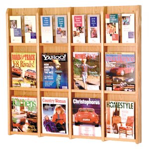 12 Magazine / 24 Brochure Oak and Acrylic Wall Display Literature Rack