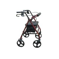 8 Inch Caster Rollator with Fold Up and Removable Back Support - Red