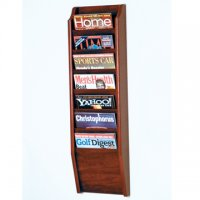 7 Pocket Wall Mount Magazine Rack - Mahogany