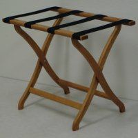 Designer Curve Leg Luggage Rack in Medium Oak - Black Straps