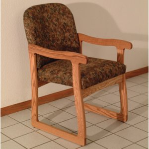 Office Waiting Room Guest Chair - Medium Oak - Watercolor Earth