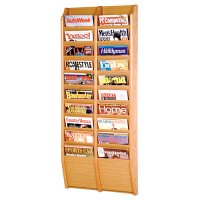 20 Pocket Wooden Wall Mount / Display Magazine or Literature Rack