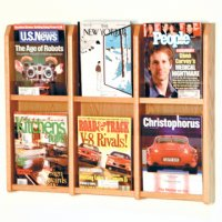 6 Magazine Wall Display - Light Oak