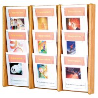9 Pocket Oak and Acrylic Wall Mount / Literature Display Rack