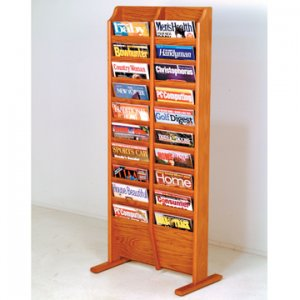 Free Standing 20 Pocket Magazine Rack - Medium Oak