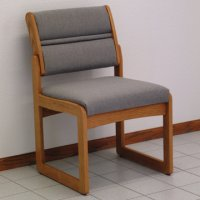 Reception and Waiting Room Armless Guest Chair - Medium Oak - Charcoal Grey