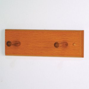 2 Peg Coat Rack with Wood Pegs - Medium Oak