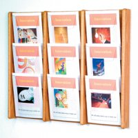 9 Pocket Solid Light Oak and Acrylic Literature Wall Display Rack