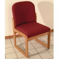 Office Waiting Room Armless Guest Chair - Medium Oak - Arch Wine