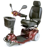 Burgundy Pilot 3-Wheel Power Scooter with 18 inch Captain's Seat