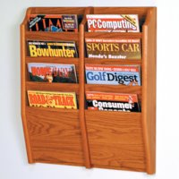 8 Pocket Wall Mount Magazine Rack - Medium Oak