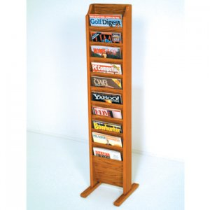 Free Standing 10 Pocket Magazine Rack - Medium Oak