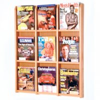 9 Magazine Wall Display - Light Oak