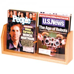 Two Pocket Wooden Countertop and Table Magazine Display Rack