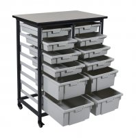 DMD 12 Bin Mobile Storage Unit, Double Rows, 8 Small 3 Inch Bins, 4 Large 6 Inch Deep Tub Bins