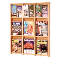 9 Magazine Oak and Acrylic Wall Mount / Literature Display Rack